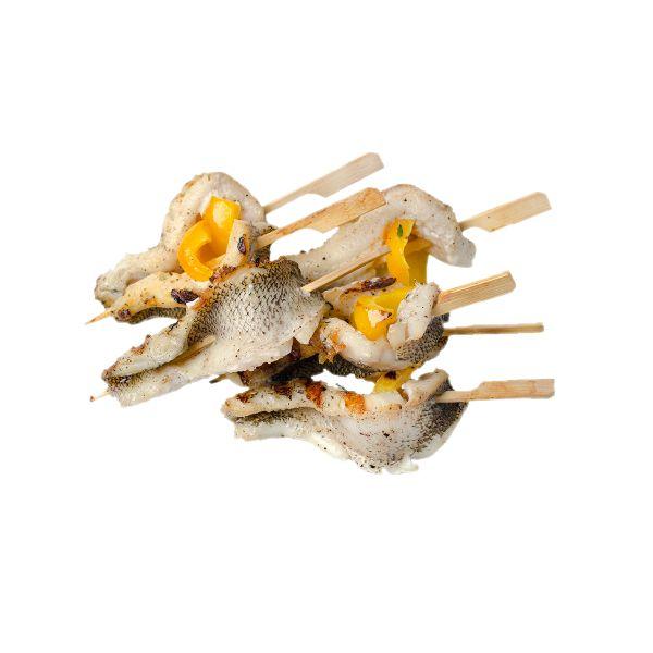Мини-шашлычок из рыбы нототения и болгарским перцем
