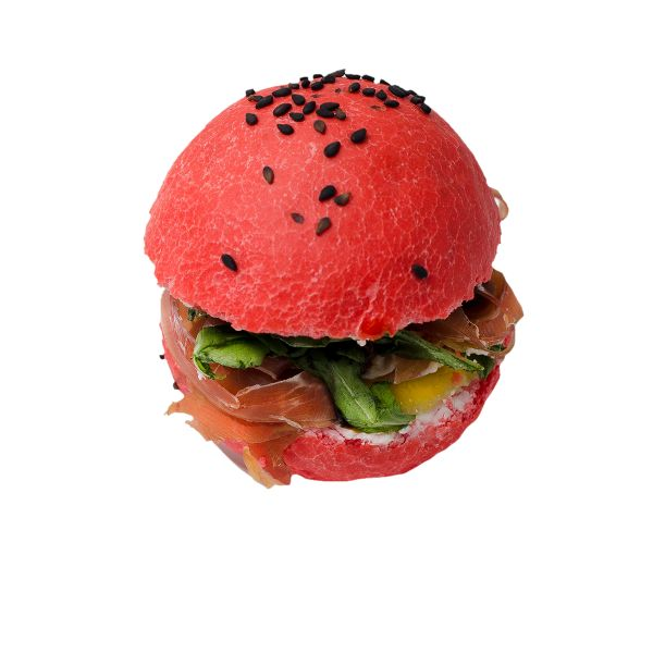 Красный бургер  со слайсами пармской ветчины
